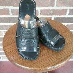 Born Black Leather Clog Sandals Size 8